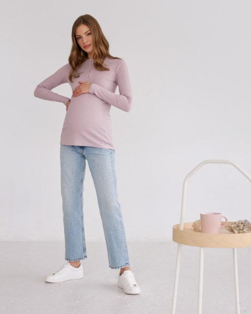 Пудровый лонгслив для беременных и кормящих мам Basic