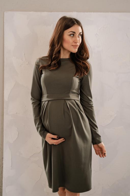 Платье в цвете хаки для беременных и кормящих Amanda