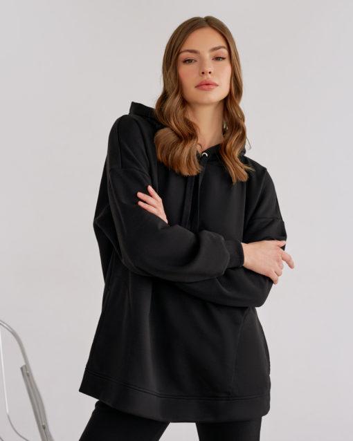 Черное худи-оверсайз для беременных и кормящих мам Pandora