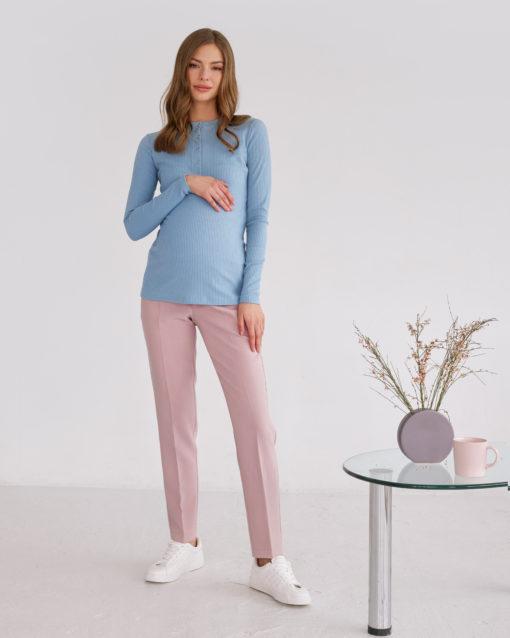 Пудровые базовые брюки для будущих и кормящих мам Eleganza