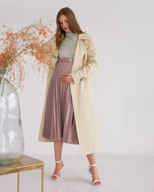 Бежевый тренч для беременных и кормящих Rubi