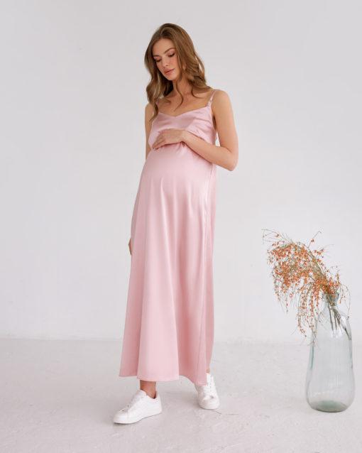 Пудровое платье-комбинация для беременных и кормящих Karmen