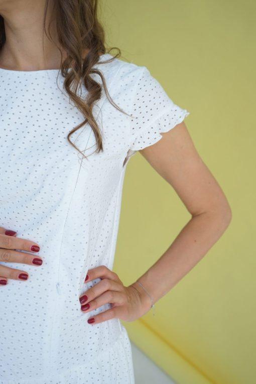 Белое платье для беременных и кормящих мам Kati