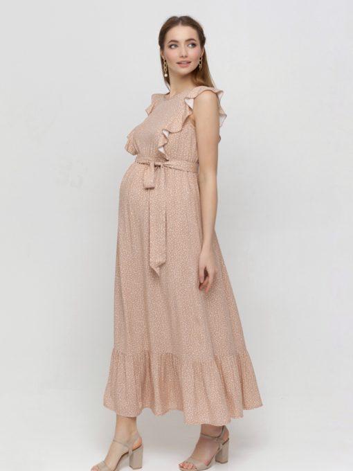Бежевое платье для беременных и кормящих мам Freya