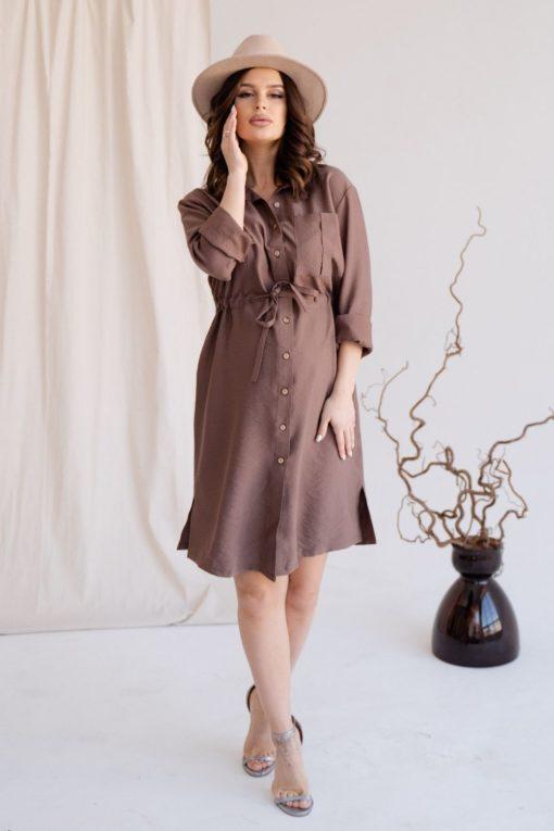 Кофейное платье для будущих и кормящих мам Samanta