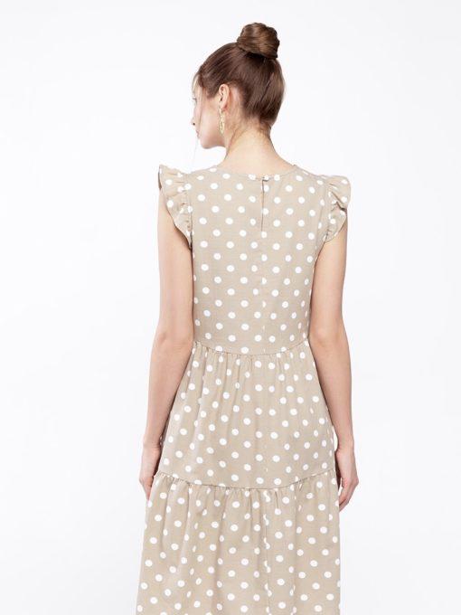 Бежевое платье для беременных и кормящих мам Nicki