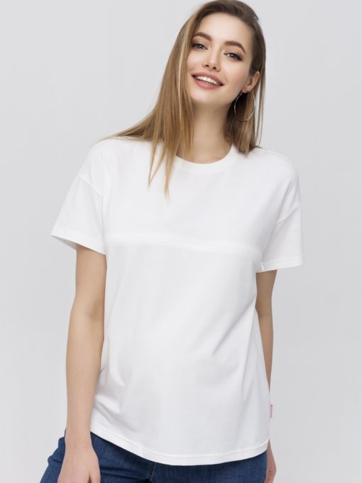 Белая футболка для будущих и кормящих мам Goldie