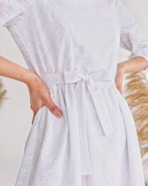 Белое платье для беременных и кормящих мам Amor