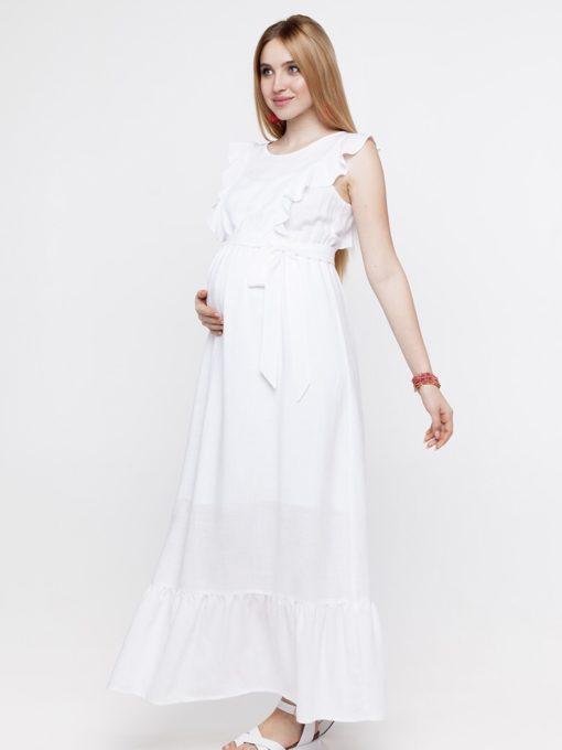 Белое платье для беременных и кормящих мам Freya