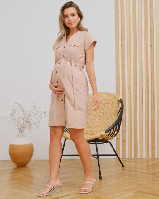 Бежевое платье для беременных и кормящих мам Ivy