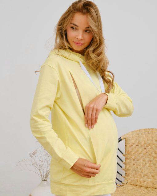 Желтое худи для будущих и кормящих мам Ramona