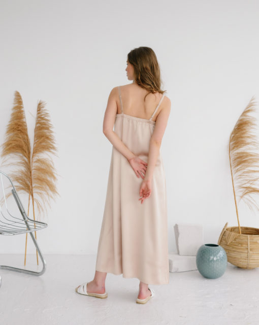 Бежевое платье-комбинация для беременных и кормящих Karmen