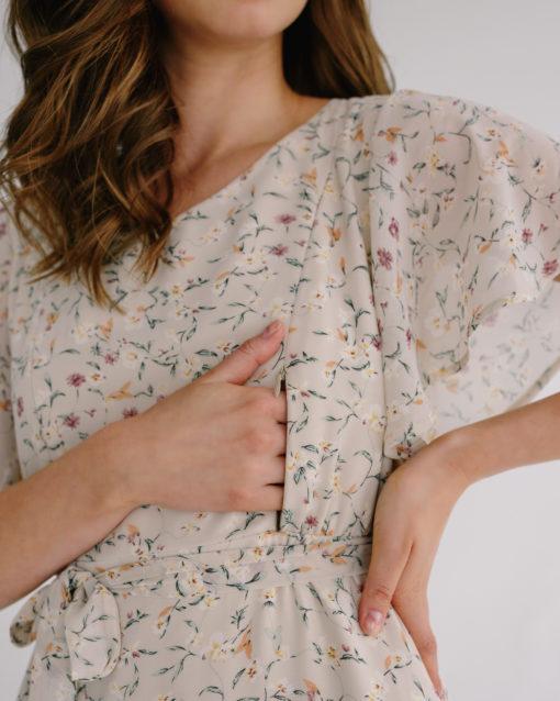 Бежевое платье для будущих и кормящих мам Monaco