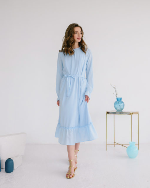 Голубое платье для будущих и кормящих мам Valencia