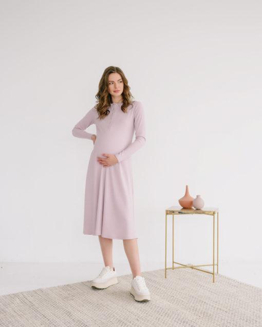 Пудровое платье-лапша для будущих и кормящих мам Lulu
