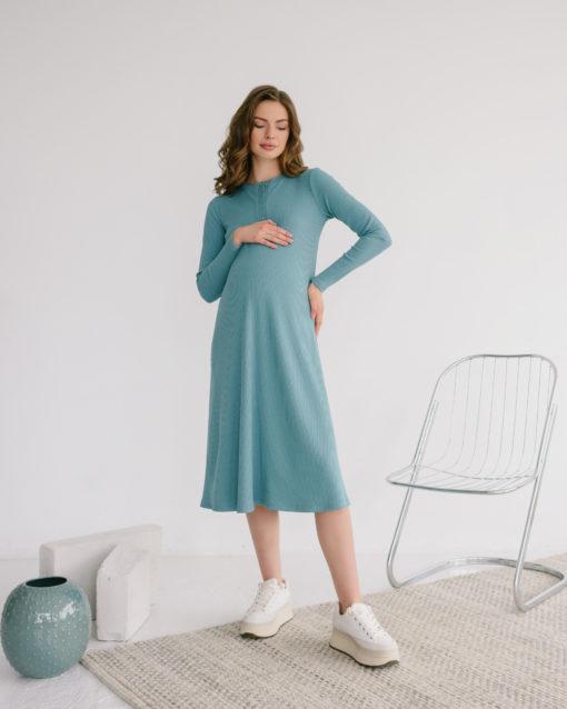 Мятное платье-лапша для будущих и кормящих мам Lulu