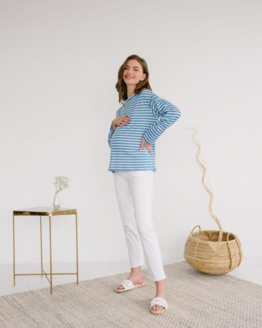 Голубая тельняшка для будущих и кормящих мам Marina