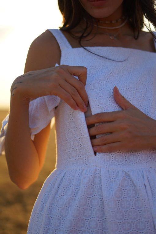 Белый сарафан для беременных и кормящих мам Violetta