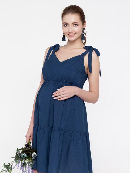 Синий сарафан для беременных и кормящих мам Dua