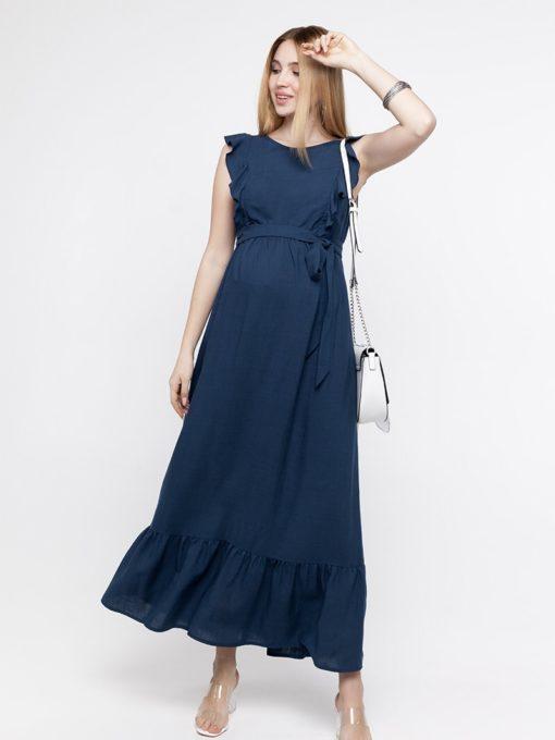 Синее платье для беременных и кормящих мам Freya