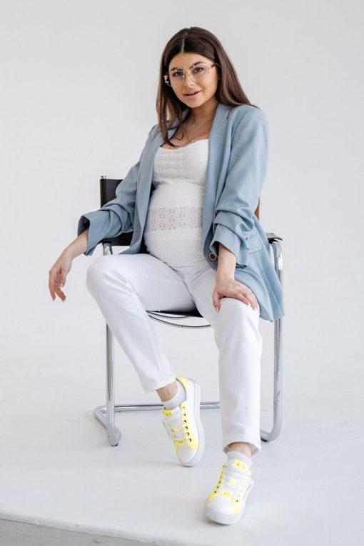 Белые джинсы-moms для будущих мам Sara