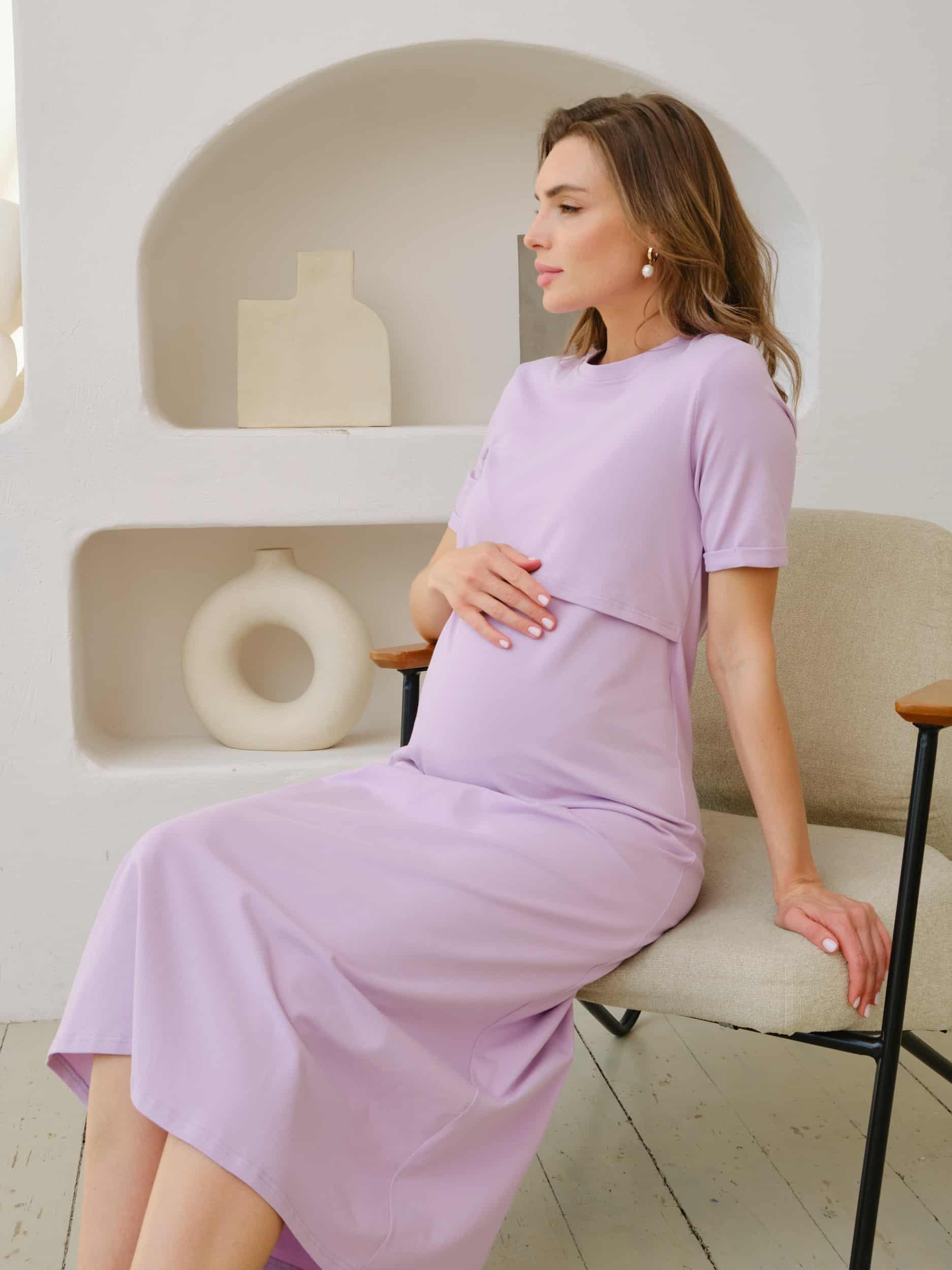Лавандовое платье-футболка для будущих и кормящих мам Casual