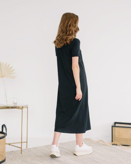 Черное платье-футболка для будущих и кормящих мам Casual