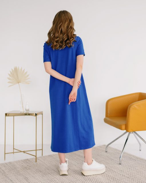 Синее платье-футболка для будущих и кормящих мам Casual