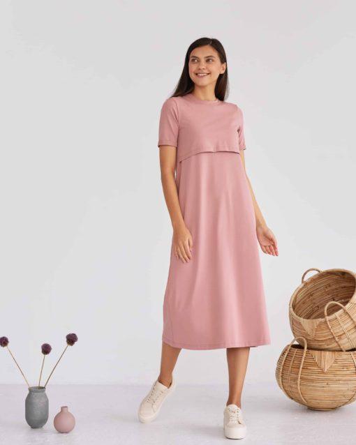 Пудровое платье-футболка для будущих и кормящих мам Casual