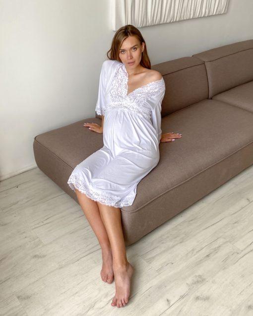Белая сорочка для будущих и кормящих мам Verona