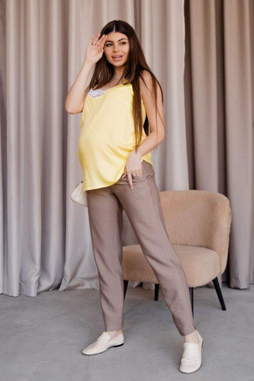 Кофейные льняные брюки для будущих и кормящих мам Amigo