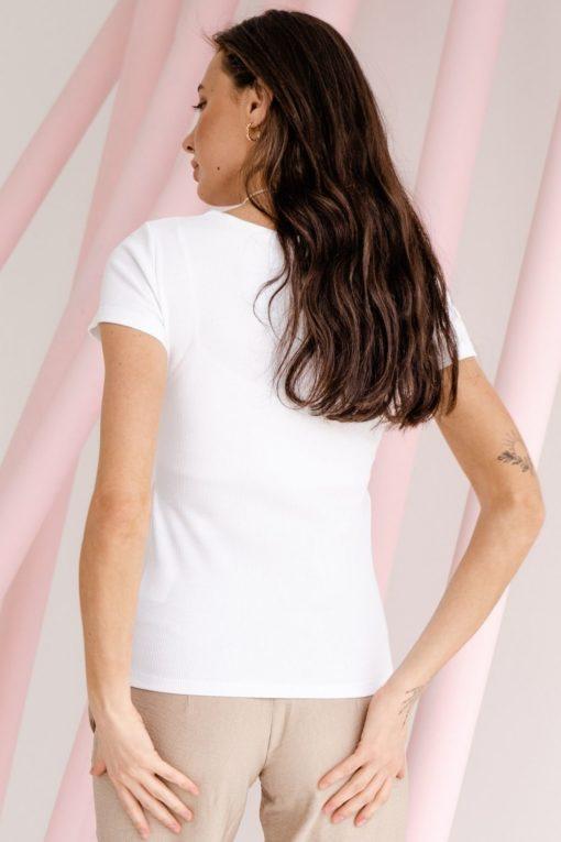 Белая футболка для будущих и кормящих мам Moss