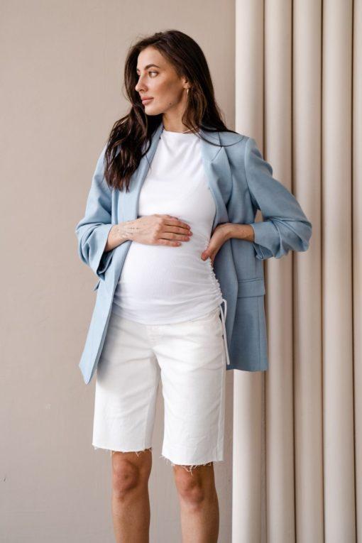 Белые джинсовые шорты для будущих и кормящих мам Linda