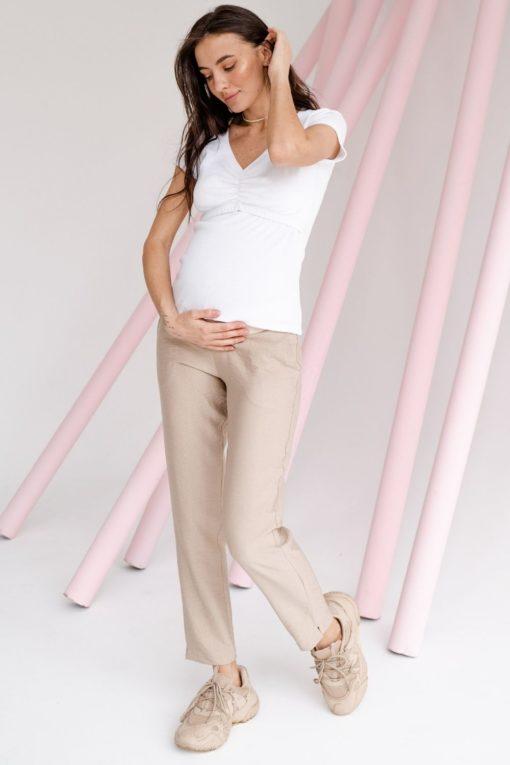 Бежевые льняные брюки для будущих и кормящих мам Amigo
