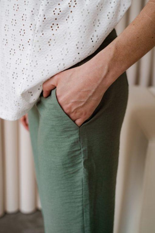 Льняные брюки в цвете хаки для будущих и кормящих мам Amigo