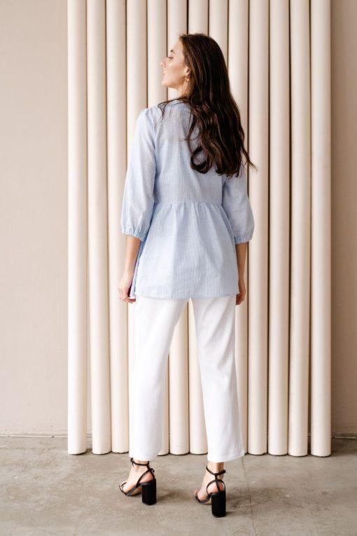 Белые льняные брюки для будущих мам Linen