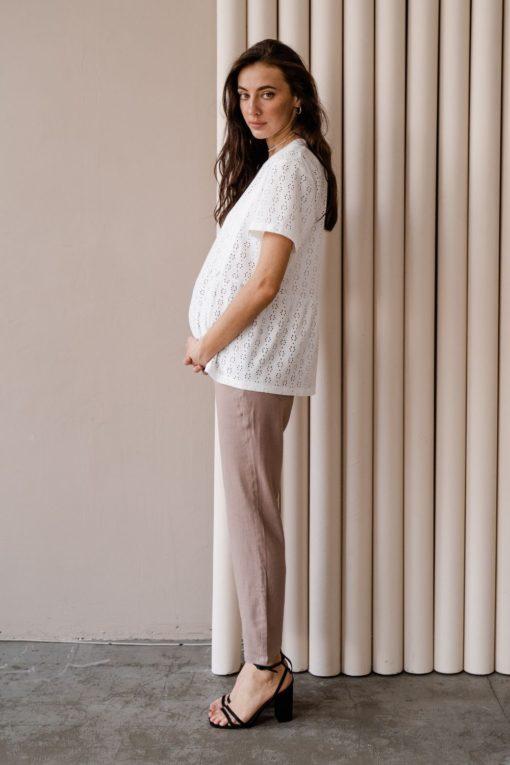 Кофейные льняные брюки для будущих мам Linen