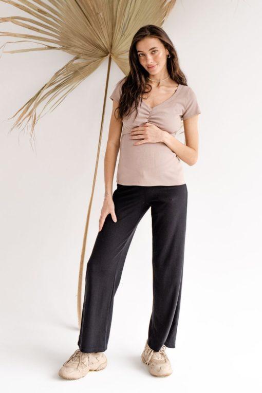 Чёрные брюки для будущих и кормящих мам Soft