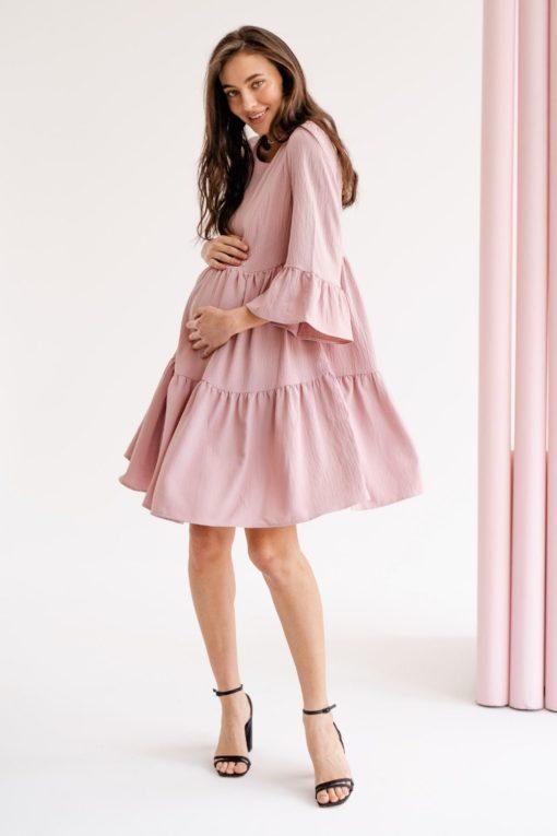 Пудровое платье для будущих и кормящих мам Marigold