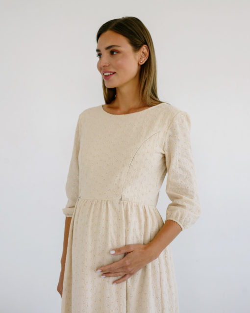 Бежевое платье для беременных и кормящих мам Amor