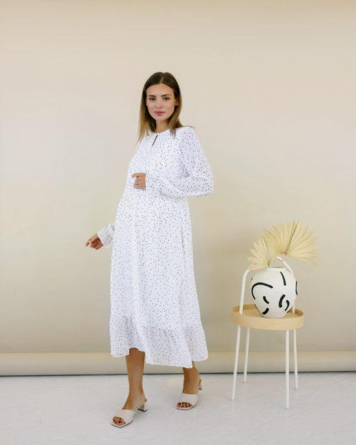Белое платье в горошек для будущих и кормящих мам Valencia New
