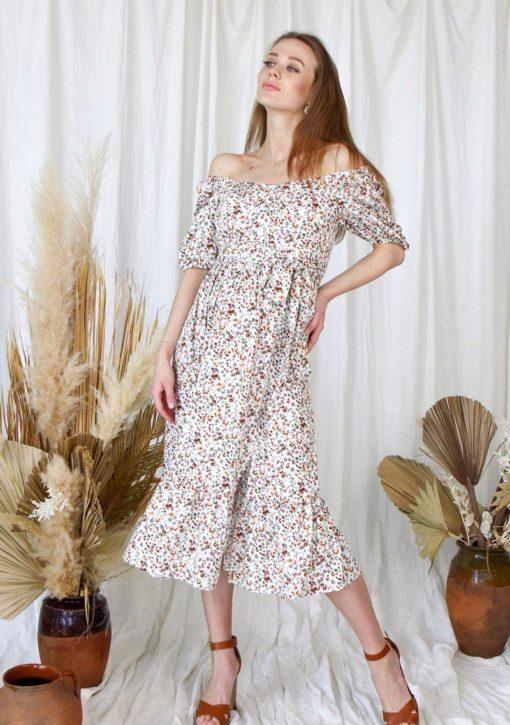 Белое платье для беременных и кормящих мам Federica