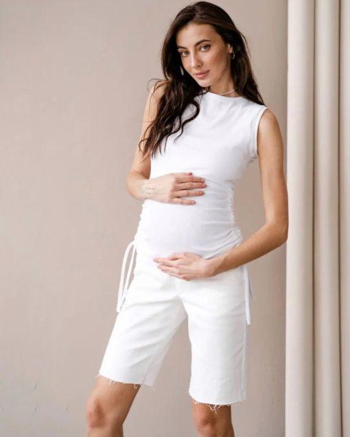 Белая майка для будущих и кормящих мам Kim