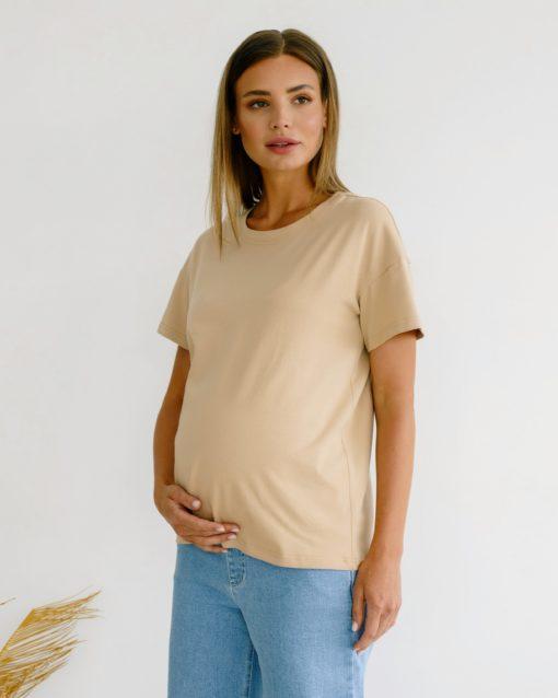 Бежевая футболка для беременных Bintan