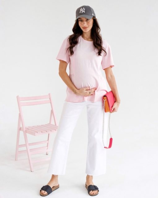 Розовая футболка для будущих и кормящих мам Terry