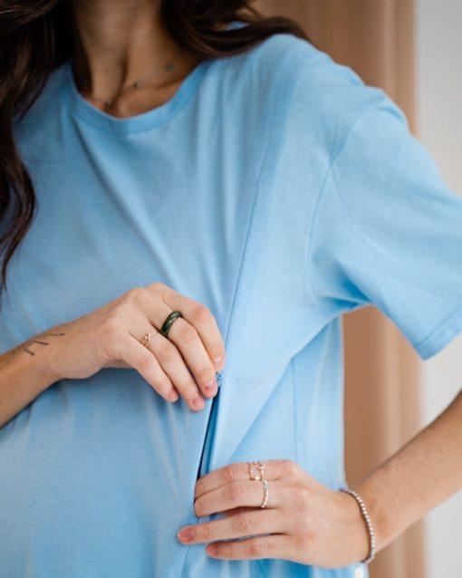 Голубая футболка для будущих и кормящих мам Terry