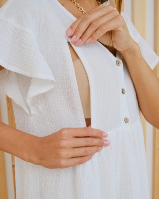 Белое платье для будущих и кормящих мам Felicity