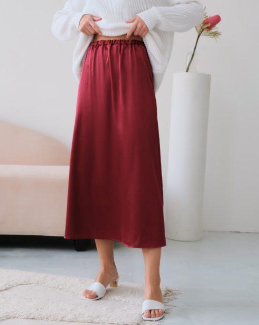 Бордовая атласная юбка Kate