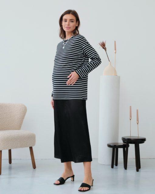 Черная атласная юбка Kate