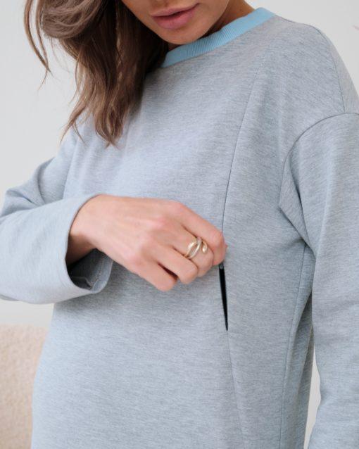 Серый лонгслив для беременных и кормящих мам Odri